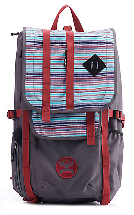 HOOey Topper Grey and Blue Serape Stripe Backpack