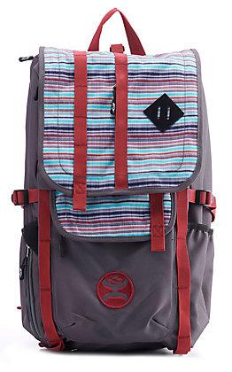 HOOey Topper Grey and Blue Serape Stripe Backpack