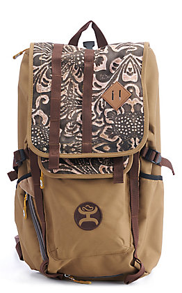 HOOey Topper Tan and Tooled Print Backpack