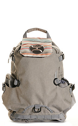 HOOey Mule Grey with Cream Pastel Stripes Flap Backpack