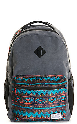 HOOey Recess Charcoal Grey with Teal Aztec Backpack