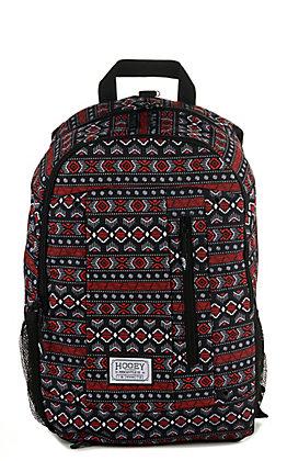 HOOey Rockstar Black and Red Aztec Print Backpack