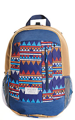 HOOey Rockstar Tan with Blue Aztec Print Backpack
