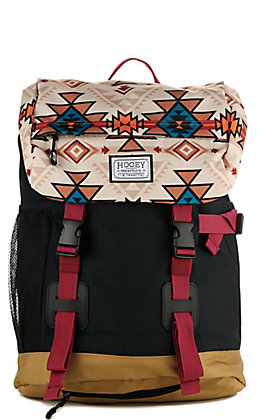 HOOey Topper II Black with Tan Serape Print Backpack