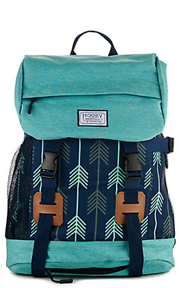HOOey Topper II Navy and Turquoise with Arrow Print Backpack