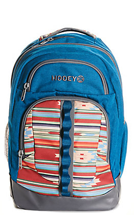 HOOey Blue with Ox Red Aztec Print Backpack