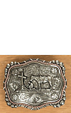 AndWest Vintage Collection Antiqued Silver Praying Cowboy with Copper Rope Accents Buckle