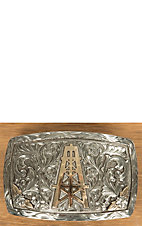 AndWest Vintage Collection Antiqued Silver with Gold Oil Derrick Rectangle Buckle