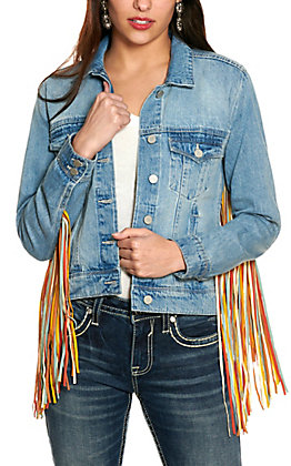 Scully Women's Denim with Multi-Colored Fringe Long Sleeve Jean Jacket
