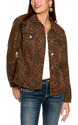 Scully Women's Brown with Black Leopard Print Jean Jacket