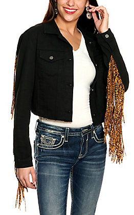 Scully Women's Black with Leopard Print Fringe Long Sleeve Jean Jacket