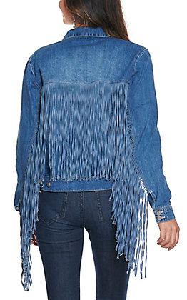 Scully Women's Medium Wash Denim with Fringe Long Sleeve Jean Jacket