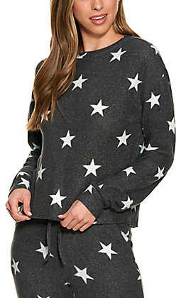 Fornia Women's Charcoal Grey with White Stars Long Sleeve Lounge Top