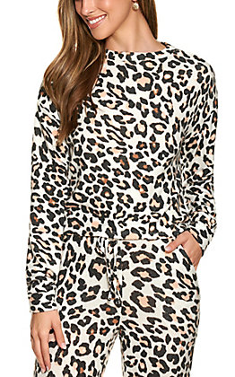 Fornia Women's Ivory with Leopard Print Long Sleeve Lounge Top