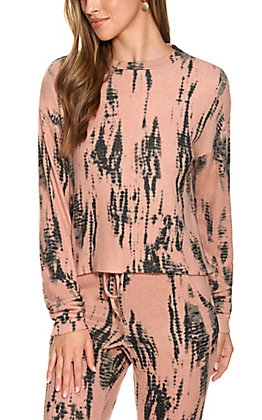 Fornia Women's Peach and Charcoal Grey Tie Dye Long Sleeve Lounge Top
