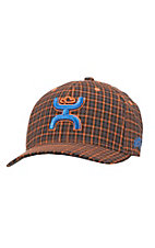 HOOey Orange and Navy Plaid With Navy Embroidered Logos Flex Fit Cap