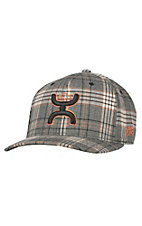 HOOey Catcus Ropes Black & Rust Plaid with Hands Up Logo Flex Fit Cap
