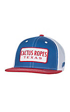 HOOey Blue with White and Red Cactus Ropes Patch Mesh Back Snap Back Cap