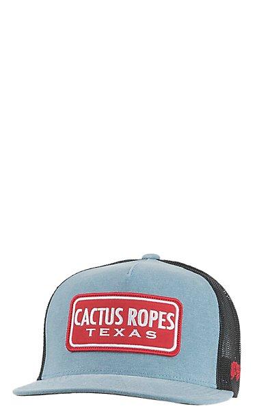a7c5c87e3b9 HOOey Cactus Ropes Light Blue Trucker Mesh Snap Back Cap