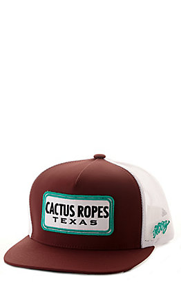 Hooey Maroon with White with Turquoise Cactus Ropes Patch Cap