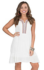 Hot & Delicious Women's White with Navy and Orange Embroidery Sleeveless Dress