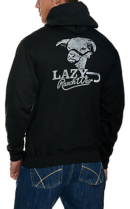 Lazy J Ranch Wear Men's Black Retro Logo Hoodie