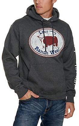 Lazy J Ranch Wear Men's Charcoal with Hereford Logo Hoodie