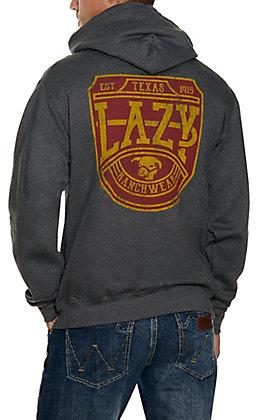 Lazy J Ranch Wear Men's Charcoal Mustard Plate Logo Hoodie
