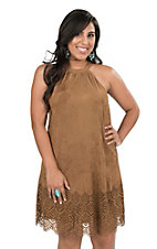 Hot & Delicious Women's Brown Faux Suede with Laser Cut Out Details Sleeveless Dress
