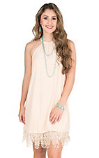 Hot & Delicious Peach with Crochet Bottom Hem High Neckline Sleeveless Tent Dress