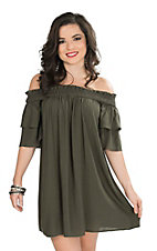 Hot & Delicious Women's Olive Off The Shoulder 1/2 Ruffled Sleeve Dress
