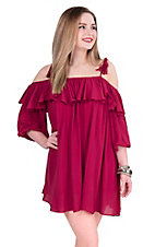 Hot & Delicious Women's Burgundy with Ruffled Top  Cold Shoulder 3/4 Sleeve Dress