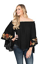 Hot & Delicious Women's Black with Floral Embroidered Long Bell Sleeves Fashion Top
