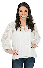 Karlie Women's White with Lace Insets Boho 3/4 Sleeve Top