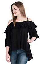 Hot & Delicious Women's Black with Ruffled Top Cold Shoulder 3/4 Sleeve Fashion Top