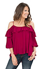 Hot & Delicious Women's Burgundy with Ruffled Top Cold Shoulder 3/4 Sleeve Fashion Top