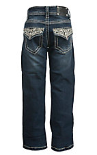 Wired Heart Girl's Medium Wash Raised Embroidery & Rhinestone Button Flap Pocket Boot Cut Jean