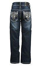 Wired Heart Girl's Dark Wash Grey Maltese Swirl Open Pocket Boot Cut Jean