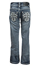 Wired Heart Girl's Light Wash White Leather Cross Open Pocket Boot Cut Jean
