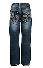 Wired Heart Girl's Medium Wash Embroidered Cross with Pyramid Studs Open Pocket Boot Cut Jean