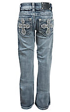 Wired Heart Girl's Light Wash Distressed Cross Open Pocket Boot Cut Jean