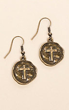 Laminin Heartland Hammered Cross Coin Dangle Earring