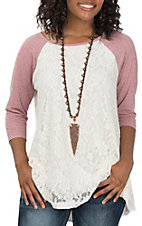 James C Women's Lace Contrast Baseball Casual Knit Shirt