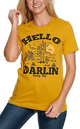Country Deep Women's Mustard Hello Darlin Desert Short Sleeve T-Shirt