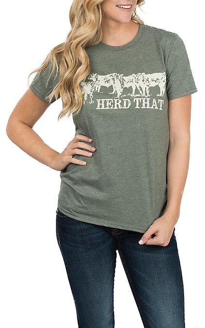 buy popular 16940 79b7b Crazy Train Women's Olive Herd That Short Sleeve T-Shirt