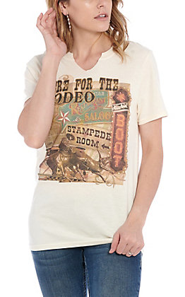 Gina Women's Natural Embellished Here For The Rodeo T-Shirt