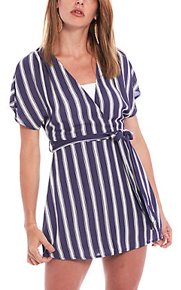 HYFVE Women's Navy Striped Romper