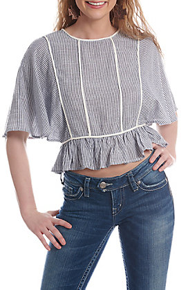 Fashion On Earth Grey And White Striped Tie Back Fashion Top