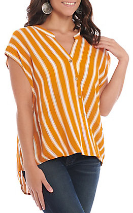 HYFVE Women's Tangerine & White Striped Surplus Fashion Top
