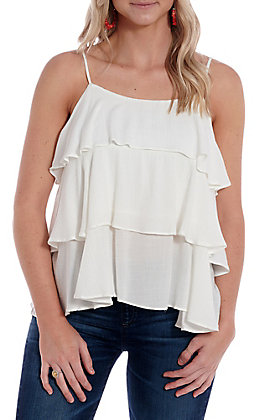 Fashion On Earth White Ruffled Cami Fashion Top